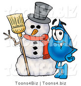 Illustration of a Cartoon Water Drop Mascot with a Snowman on Christmas by Toons4Biz