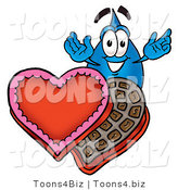 Illustration of a Cartoon Water Drop Mascot with an Open Box of Valentines Day Chocolate Candies by Toons4Biz