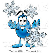 Illustration of a Cartoon Water Drop Mascot with Three Snowflakes in Winter by Toons4Biz