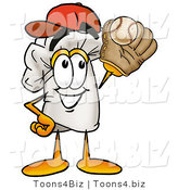 Illustration of a Chef Hat Mascot Catching a Baseball with a Glove by Toons4Biz