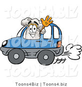 Illustration of a Chef Hat Mascot Driving a Blue Car and Waving by Toons4Biz