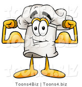 Illustration of a Chef Hat Mascot Flexing His Arm Muscles by Toons4Biz