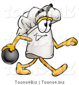 Illustration of a Chef Hat Mascot Holding a Bowling Ball by Toons4Biz