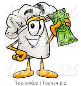 Illustration of a Chef Hat Mascot Holding a Dollar Bill by Toons4Biz