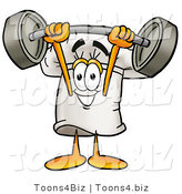 Illustration of a Chef Hat Mascot Holding a Heavy Barbell Above His Head by Toons4Biz