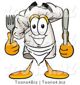 Illustration of a Chef Hat Mascot Holding a Knife and Fork by Toons4Biz