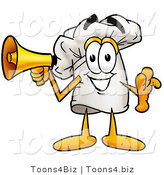Illustration of a Chef Hat Mascot Holding a Megaphone by Toons4Biz