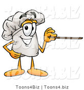Illustration of a Chef Hat Mascot Holding a Pointer Stick by Toons4Biz