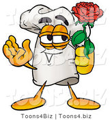 Illustration of a Chef Hat Mascot Holding a Red Rose on Valentines Day by Toons4Biz