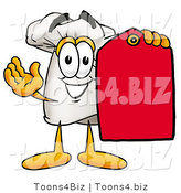 Illustration of a Chef Hat Mascot Holding a Red Sales Price Tag by Toons4Biz