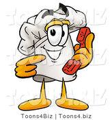 Illustration of a Chef Hat Mascot Holding a Telephone by Toons4Biz