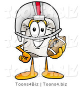 Illustration of a Chef Hat Mascot in a Helmet, Holding a Football by Toons4Biz