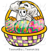 Illustration of a Chef Hat Mascot in an Easter Basket Full of Decorated Easter Eggs by Toons4Biz