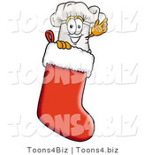 Illustration of a Chef Hat Mascot Inside a Red Christmas Stocking by Toons4Biz