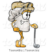 Illustration of a Chef Hat Mascot Leaning on a Golf Club While Golfing by Toons4Biz