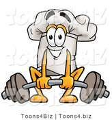 Illustration of a Chef Hat Mascot Lifting a Heavy Barbell by Toons4Biz