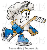 Illustration of a Chef Hat Mascot Playing Ice Hockey by Toons4Biz
