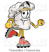 Illustration of a Chef Hat Mascot Roller Blading on Inline Skates by Toons4Biz