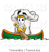 Illustration of a Chef Hat Mascot Rowing a Boat by Toons4Biz