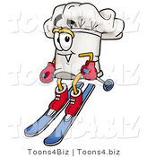 Illustration of a Chef Hat Mascot Skiing Downhill by Toons4Biz