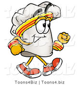 Illustration of a Chef Hat Mascot Speed Walking or Jogging by Toons4Biz