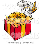 Illustration of a Chef Hat Mascot Standing by a Christmas Present by Toons4Biz