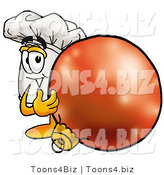 Illustration of a Chef Hat Mascot Standing with a Christmas Bauble by Toons4Biz