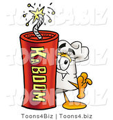 Illustration of a Chef Hat Mascot Standing with a Lit Stick of Dynamite by Toons4Biz