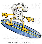 Illustration of a Chef Hat Mascot Surfing on a Blue and Yellow Surfboard by Toons4Biz