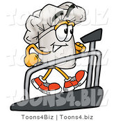 Illustration of a Chef Hat Mascot Walking on a Treadmill in a Fitness Gym by Toons4Biz