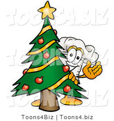 Illustration of a Chef Hat Mascot Waving and Standing by a Decorated Christmas Tree by Toons4Biz