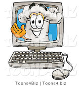 Illustration of a Chef Hat Mascot Waving from Inside a Computer Screen by Toons4Biz