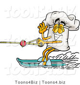 Illustration of a Chef Hat Mascot Waving While Water Skiing by Toons4Biz