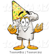 Illustration of a Chef Hat Mascot Wearing a Birthday Party Hat by Toons4Biz