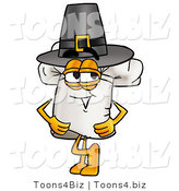 Illustration of a Chef Hat Mascot Wearing a Pilgrim Hat on Thanksgiving by Toons4Biz