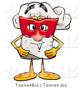 Illustration of a Chef Hat Mascot Wearing a Red Mask over His Face by Toons4Biz