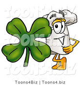 Illustration of a Chef Hat Mascot with a Green Four Leaf Clover on St Paddy's or St Patricks Day by Toons4Biz