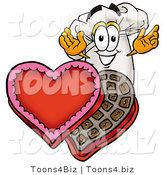 Illustration of a Chef Hat Mascot with an Open Box of Valentines Day Chocolate Candies by Toons4Biz