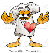 Illustration of a Chef Hat Mascot with His Heart Beating out of His Chest by Toons4Biz