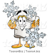 Illustration of a Chef Hat Mascot with Three Snowflakes in Winter by Toons4Biz