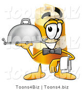Illustration of a Construction Safety Barrel Mascot Dressed As a Waiter and Holding a Serving Platter by Toons4Biz