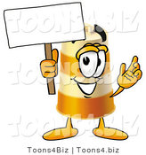 Illustration of a Construction Safety Barrel Mascot Holding a Blank Sign by Toons4Biz