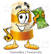 Illustration of a Construction Safety Barrel Mascot Holding a Dollar Bill by Toons4Biz