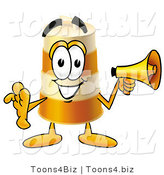 Illustration of a Construction Safety Barrel Mascot Holding a Megaphone by Toons4Biz