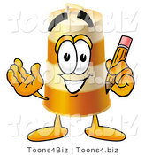Illustration of a Construction Safety Barrel Mascot Holding a Pencil by Toons4Biz