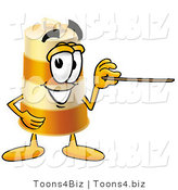 Illustration of a Construction Safety Barrel Mascot Holding a Pointer Stick by Toons4Biz