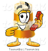 Illustration of a Construction Safety Barrel Mascot Holding a Telephone by Toons4Biz