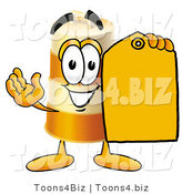 Illustration of a Construction Safety Barrel Mascot Holding a Yellow Sales Price Tag by Toons4Biz