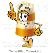 Illustration of a Construction Safety Barrel Mascot Pointing Upwards by Toons4Biz