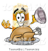 Illustration of a Construction Safety Barrel Mascot Serving a Thanksgiving Turkey on a Platter by Toons4Biz